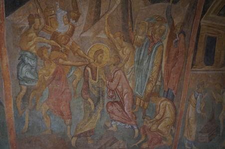 Freska v Chráme sv. Bohorodičky v Ivanove - Judášov bozk