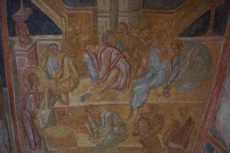 Freska v Chráme sv. Bohorodičky v Ivanove - Kristus umýva nohy chudobným