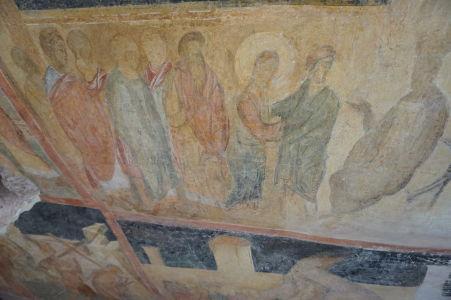 Freska v Chráme sv. Bohorodičky v Ivanove - Kristus pred Pilátom