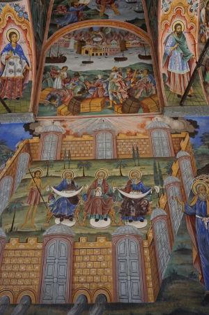 Fresky na kostole v Rile - Ján Krstiteľ a proroci Abrahám, Izák a Jakub (so synmi)