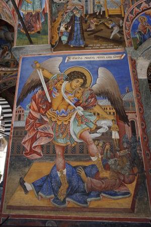 Fresky na kostole v Rile - Archanjel Michael