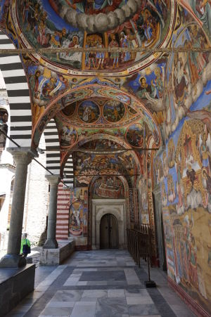 Fresky na kostole v Rile