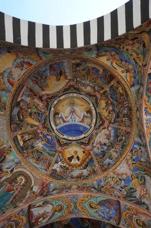Fresky na kostole v Rile - Antropomorfné vyobrazenie Boha a výjavy zo života Krista