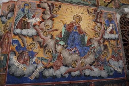 Fresky na kostole v Rile - Máriino nanebovzatie