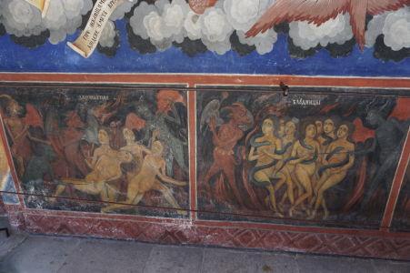 Fresky na kostole v Rile - Čerti odvádzajú hriešnikov