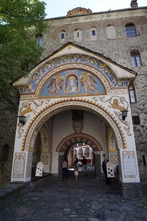 Zdobený severný vchod do kláštora Rila - Podobizeň sv. Ivana z Rily