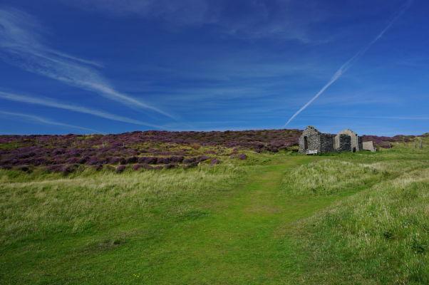 Ruiny starého domu na Bradda Head neďaleko Milnerovej veže na ostrove Man