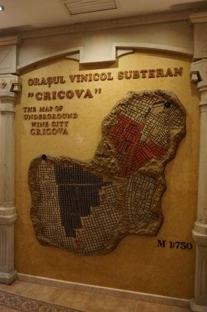 Mapa labyrintu podzemných chodieb v Cricove