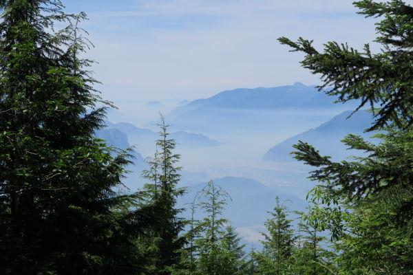 Začiatok treku k jazierkam Elfin Lakes v Provinčnom parku Garibaldi v Britskej Kolumbii v Kanade veľmi rýchlo prejde do riedkeho lesa, vďaka čomu sa otvoria dobré výhľady na okolie - hmla nad údolím s mestečkom Squamish