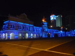 Večer na námestí Merdeka - Hlavná budova Ministerstva informácií, komunikácií a kultúry
