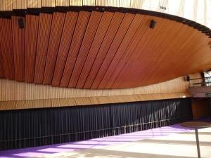 Foyery sú pokryté drevenými lištami