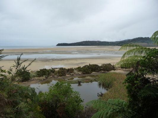 Abel Tasman NP na Novom Zélande - Začiatok cestičky vedie cez pláž, ktorá býva počas vysokého prílivu nepriechodná