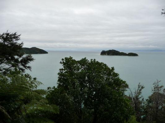 Abel Tasman NP - Na ceste po pobreží sa miestami otvárajú krásne výhľady na more - napríklad na ostrov Fisherman Island alebo Adele Island (vľavo)