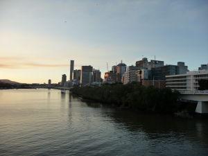 Západ Slnka nad riekou Brisbane