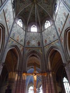 Uppsalská katedrála - Čelo hlavnej lode s freskami