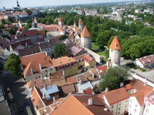 Tallinnské hradby z veže Kostola sv. Olafa
