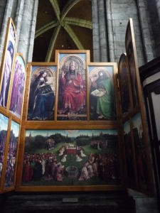 Katedrála sv. Bava - Oltárny obraz bratov van Eyckových - Zbožňovanie tajomného baránka