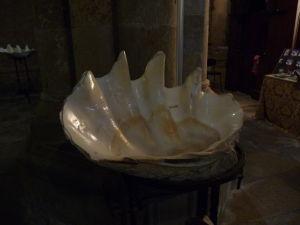 Coimbra - Stará katedrála - Nádrž na svätenú vodu je prispôsobená prímorskému charakteru krajiny