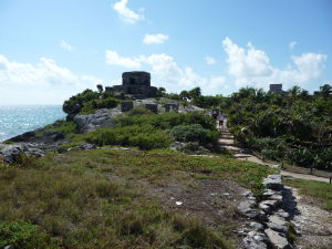 Ruiny starobylého mayského mesta v Tulume - El Castillo