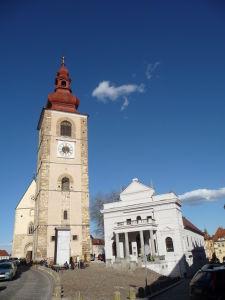 Ptuj - Kostol sv. Juraja a Mestské divadlo