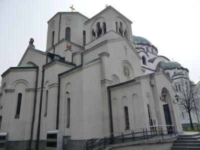 Maličký kostolík sv. Sávu hned vedľa veľkého chrámu