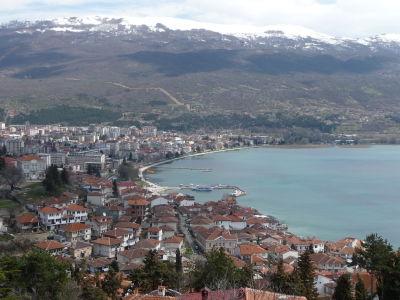 Výhľad na Ohrid a Ohridské jazero z hradu