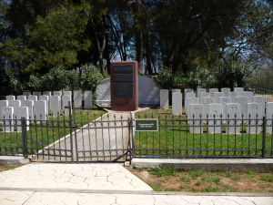 Mestský park v Tirane - Pamätník obetiam 2. svetovej vojny zo štátov Commonwealthu