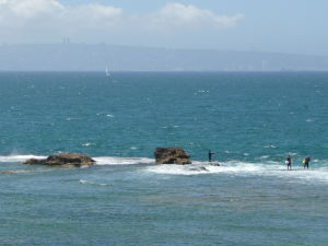 Výhľad na more a v diaľke i na Haifu
