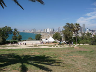 Výhľad z parku na moderný Tel Aviv