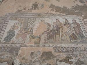 Dom Thésea - Na mozaike je novorodenec Achiles pred jeho prvým kúpeľom