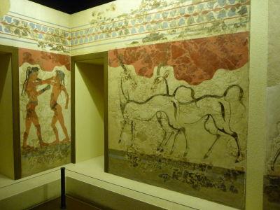 Vzácne maľby, zachránené z gréckych víl, dokumentujú dekorácie v gréckych domovoch