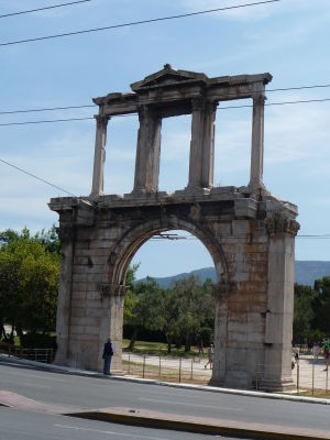 Hadriánova brána - Pohľad od Akropoly