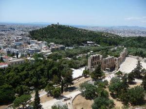 Výhľad na Atény z Akropoly - Vrch Filopappou