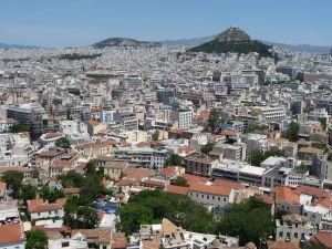 Výhľad na Atény z Akropoly - Vrch Lycabetus