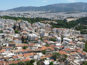 Výhľad na Atény z Akropoly - Vpravo štadión Panathinaikó
