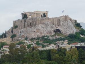 Pohľad na Partenón zo štadióna Panathinaikó