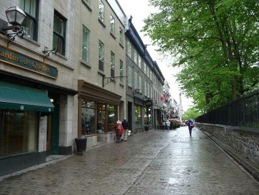 Dláždené ulice v centre hornej časti mesta (Haute-Ville) Québecu