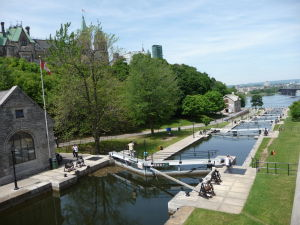 Koniec kanála Rideau - ústie do rieky Ottawa
