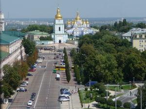 Pohľad na Kyjev zo zvonice Katedrály sv. Sofie - Kláštor sv. Michala