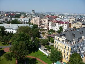 Pohľad na Kyjev zo zvonice Katedrály sv. Sofie