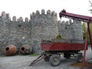Vináreň Kindžamarauli - Zrekonštruované hradby a stroj pre oddeľovanie odpadu z hrozna