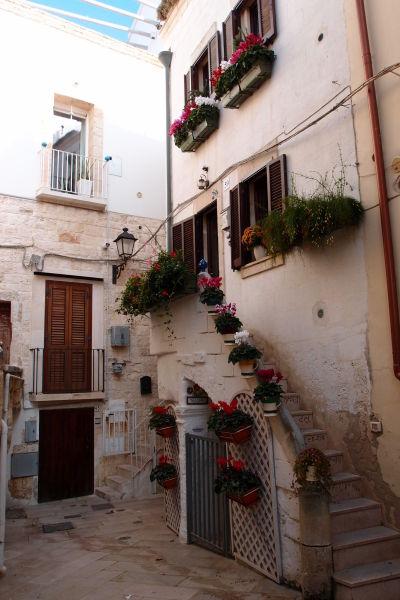 Malebné kamenné domčeky v Polignane a Mare - často zdobené kvetmi i na začiatku zimy
