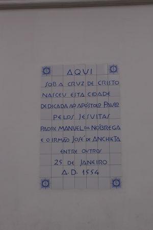 Pamätná tabuľa pripomínajúca vznik São Paula
