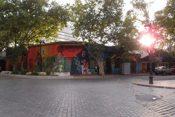 Santiago de Chile - Pomaľované domčeky v štvrti Bellavista