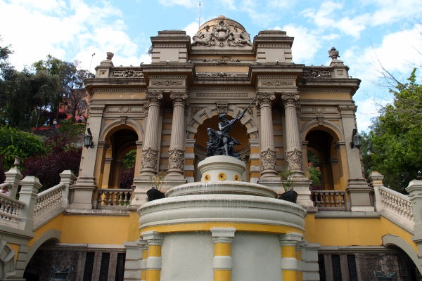 Neptúnova fontána na kopci Santa Lucía v Santiagu