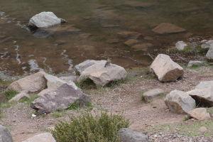 Lagúna pod vrcholkom El Morado a vtáčik čakajúci na dobroty od turistov