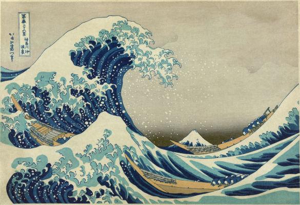 Veľká vlna z Kanagawy, prvý pohľad na Fudži od Hokusaia