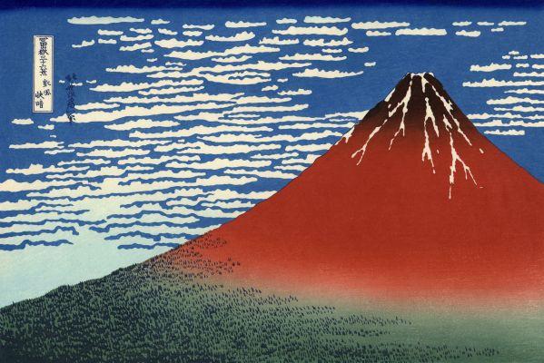 Sopka Fudži z juhu, druhý pohľad od Hokusaia
