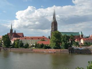 Pohľad na Katedrálny ostrov vo Vroclavi