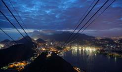 Začínajúci večer nad Riom pri pohľade z Cukrovej homole